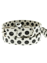 Black / White Polka Dot Glitter Collar & Lead Set - This striking black and white leather collar with stitched edging has a hint of glitter and will look great for walkies. A very smart addition to the wardrobe of any trendy pooch. Matching leather lead has silver clip with black and white polka dot glitter pattern.S-M Width: 14mmM-L Width: 19mmL-XL...
