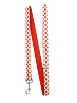 Red / White Polka Dot Glitter Silver Bone Lead - Leather lead with silver clip and a red and white polka dot glitter pattern, finished with a chrome bone.S-M Width: 14mmM-L Width: 19mmL-XL Width: 25mmLead Length: 1.08m / 48''