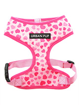 Pink Hearts Harness - This Pink Hearts collar is the perfect girly accessory. It is a contemporary style and the pattern is on trend. It is lightweight and incredibly strong. Designed by Urban Pup to provide the ultimate in comfort and safety. It features a breathable material for maximum air circulation that helps preve...
