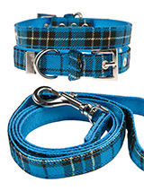 Blue Tartan Fabric Collar & Lead Set - Our Blue Checked Tartan collar and lead set is a traditional design which is stylish, classy and never goes out of fashion. It is lightweight and incredibly strong. The collar has been finished with chrome detailing including the eyelets and tip of the collar. A matching lead, harness and bandana ar...