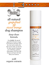 All Natural Grapefruit & Sweet Orange Dog Shampoo (300ml) - Our all natural grapefruit and organic sweet orange oil shampoo contains highly biodegradable, vegetable derived cleansers including wheat protein which has conditioning, moisturising and detangling properties to make the hair look shinier and feel softer. Organic sweet orange oil and grapefruit ess...