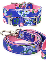 Pink / Blue Floral Burst Fabric Collar & Lead Set - Our Floral Burst pattern collar and lead set is a rich contemporary style and the floral pattern is right on trend. It is lightweight and incredibly strong. The collar has been finished with chrome detailing including the eyelets and tip of the collar. A matching harness and bandana are available to...