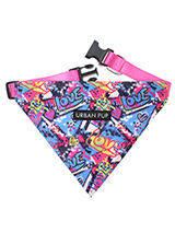 Pink Graffiti Bandana - Our Pink Graffiti Bandana is a street art inspired design. It is a contemporary style and the floral pattern is right on trend. Just attach your lead to the D ring and this stylish Bandana can also be used as a collar. It is lightweight and incredibly strong. You can be sure that this stylish and pr...