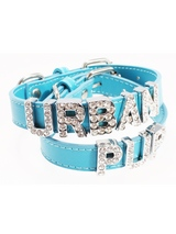 Blue Leather Personalised Dog Collar (Diamante Letters) - Blue Leather Personalised Dog Collar (Diamante Letters)