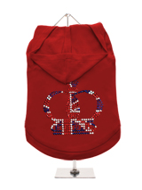GlamourGlitz Royal Crown Dog Hoodie - Exclusive GlamourGlitz 100% Cotton Hoodie. Fit for your prince or princess, the Crown Design is a real style indicator and a must have look. Crafted with Red, Silver and Blue Rhinestuds that catch a sparkle in the light. Wear on it's own or match with a GlamourGlitz ''Mommy and Me'' Women's T-Shirt...